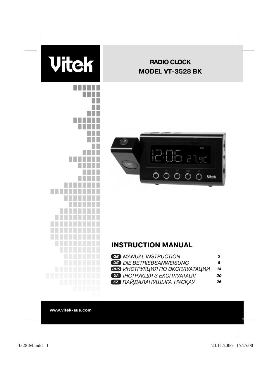 Подробная инструкция по эксплуатации часов vitek vt bk для того, чтобы бесплатно скачать это руководство пользователя и применять при необходимости.