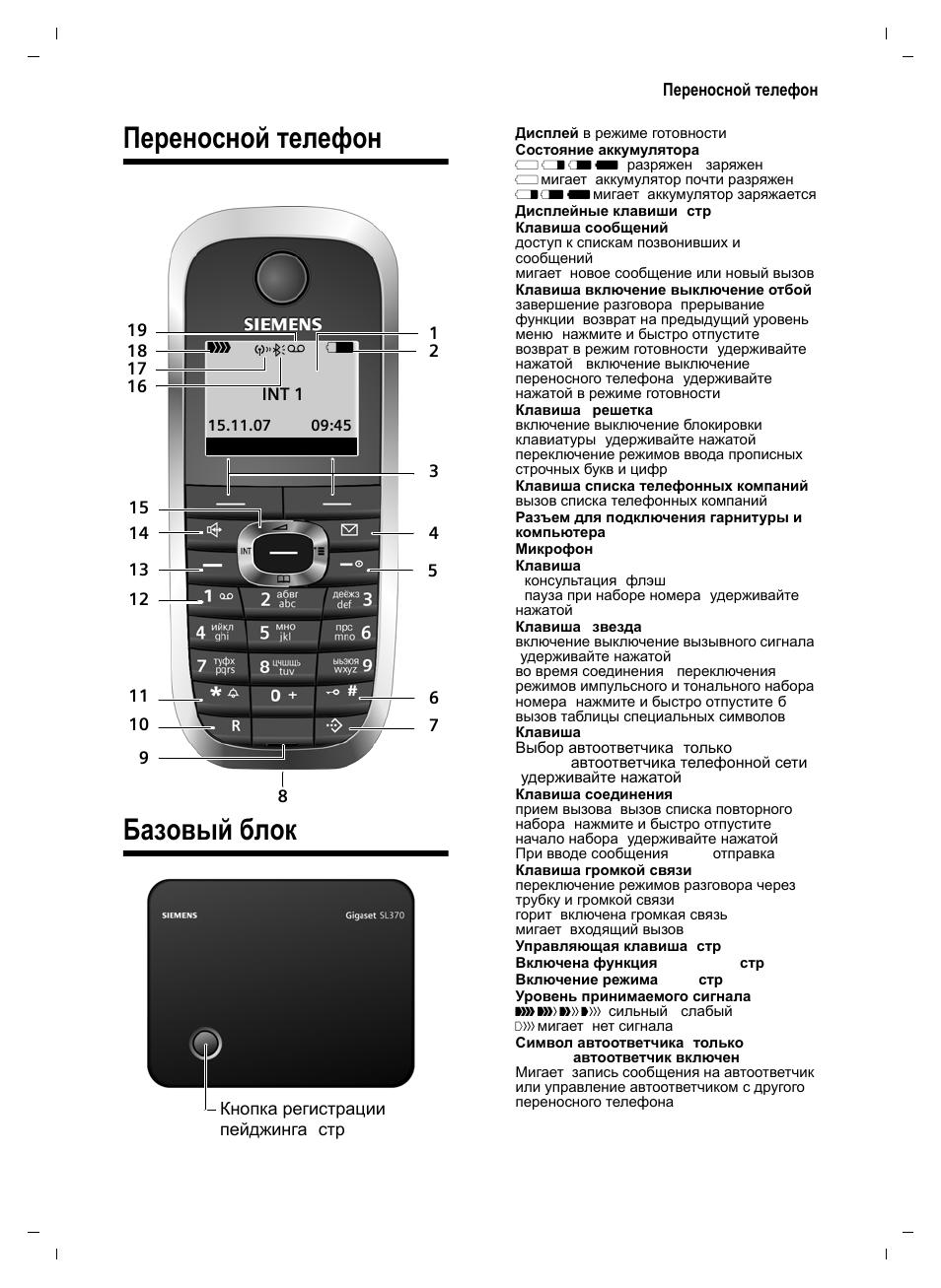 Инструкция по эксплуатации телефону siemens