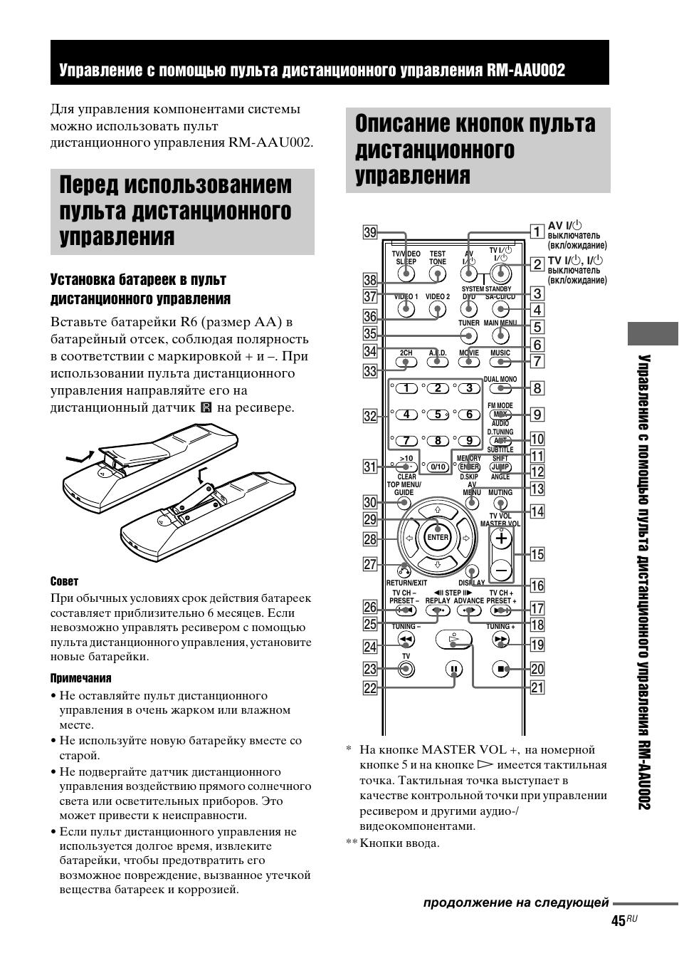 пульт sony rm-adu047 инструкция к применению