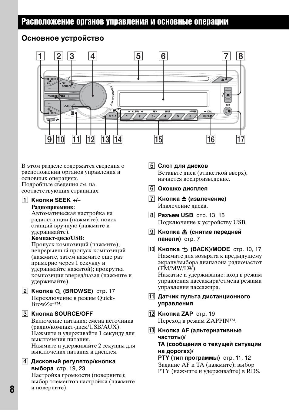магнитола sony cdx gt500 инструкция на русском