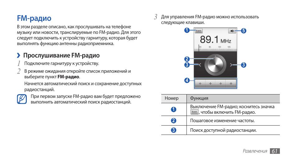 Fm-радио Инструкция по эксплуатации Samsung GT-S5660 Galaxy Gio Страница 61 / 130
