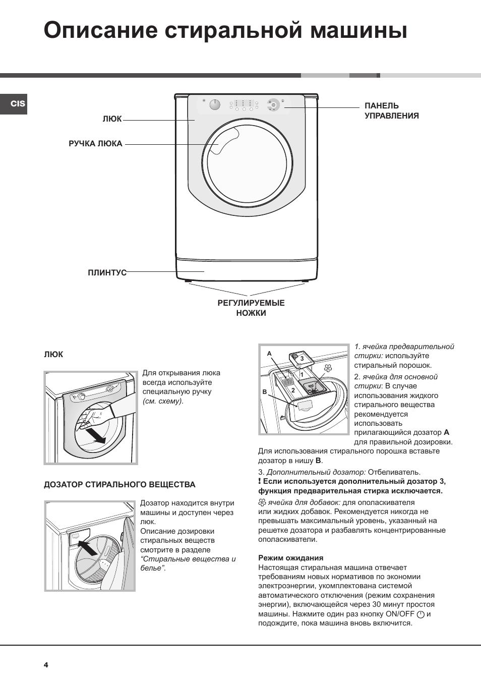 инструкция на стиральную машину индезит