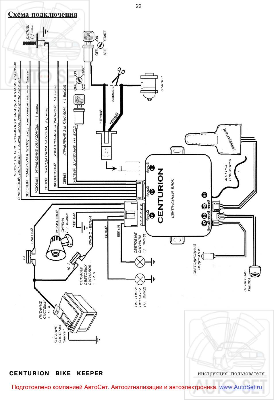 Схема подключения автосигнализации centurion фото