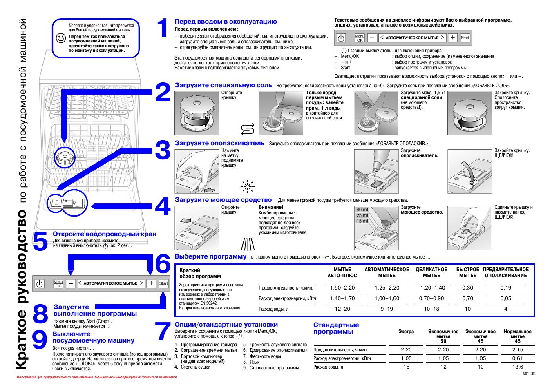 Краткое руководство, По работе с посудомоечной машиной Инструкция по эксплуатации Bosch SGS 09T45 EU Страница 48 / 49
