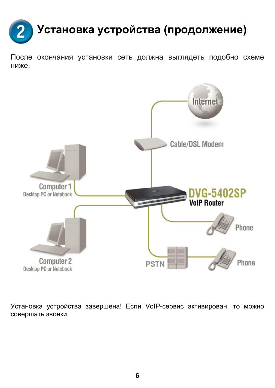 Установка устройства (продолжение) Инструкция по эксплуатации D-Link DVG-5402SP Страница 6 / 12