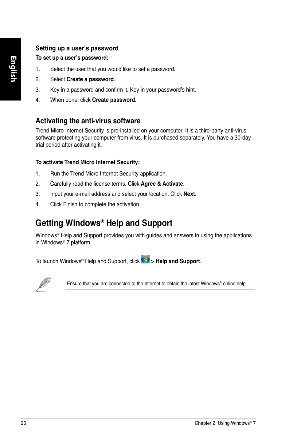 Getting windows® help and support, Getting windows, Help and