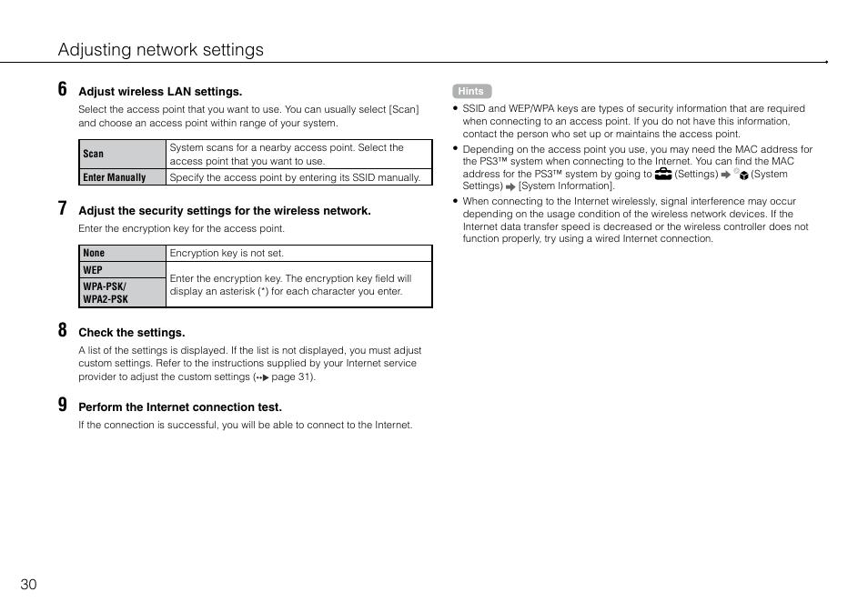 Adjusting network settings | Инструкция по эксплуатации Sony