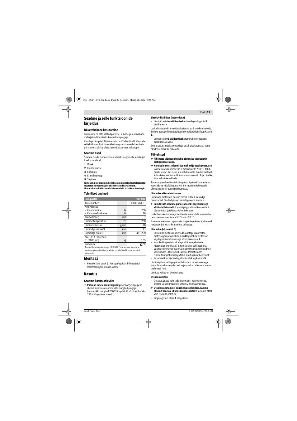 c8005fd6cdd Seadme ja selle funktsioonide kirjeldus, Montaaž, Kasutus | Инструкция по  эксплуатации Bosch PKP 18 E | Страница 29 / 35
