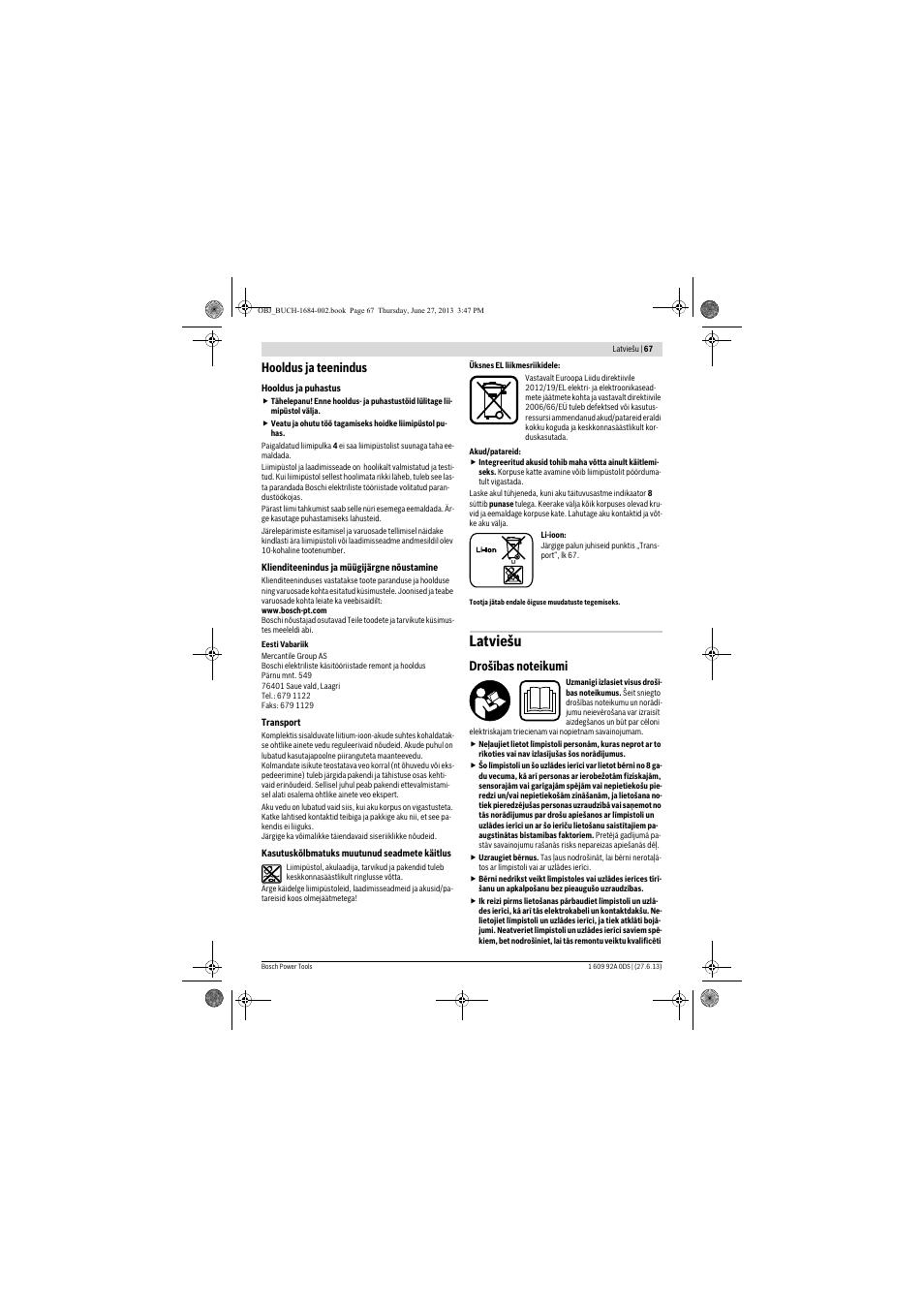 0320823df32 Latviešu, Hooldus ja teenindus | Инструкция по эксплуатации Bosch PKP 3,6  LI | Страница 67 / 76