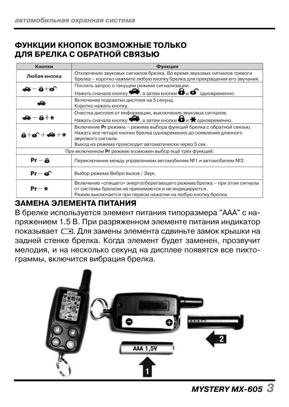 Страница 15/24] инструкция: автосигнализация mystery mx-605.