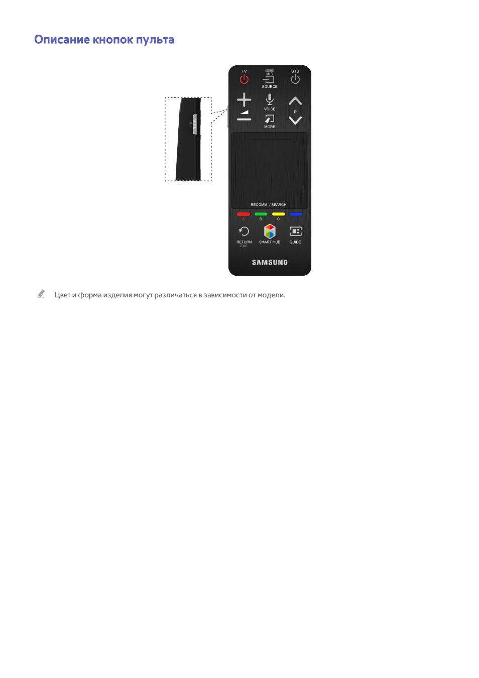 43 описание кнопок пульта, Описание кнопок пульта Инструкция по эксплуатации Samsung UE75F6300AK Страница 50 / 194