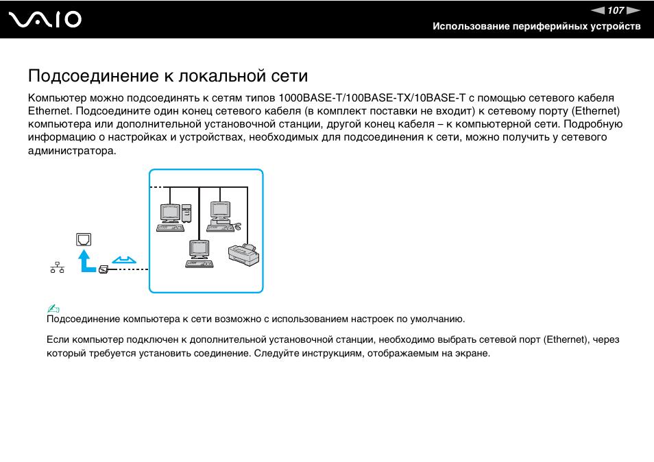 Подсоединение к локальной сети Инструкция по эксплуатации Sony VGN-SZ70WN Страница 107 / 222 Оригинал