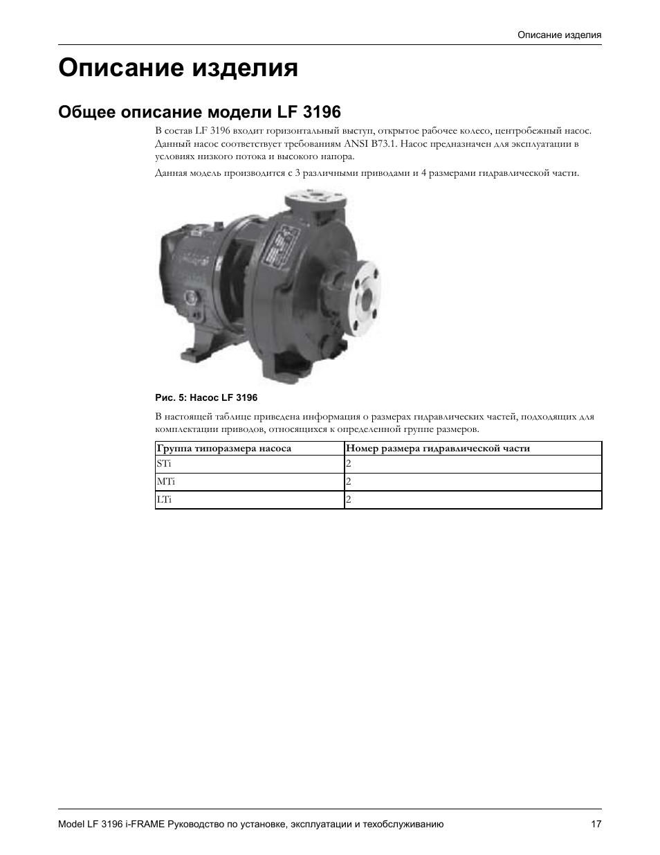 Описание изделия, Общее описание модели lf 3196 | Инструкция