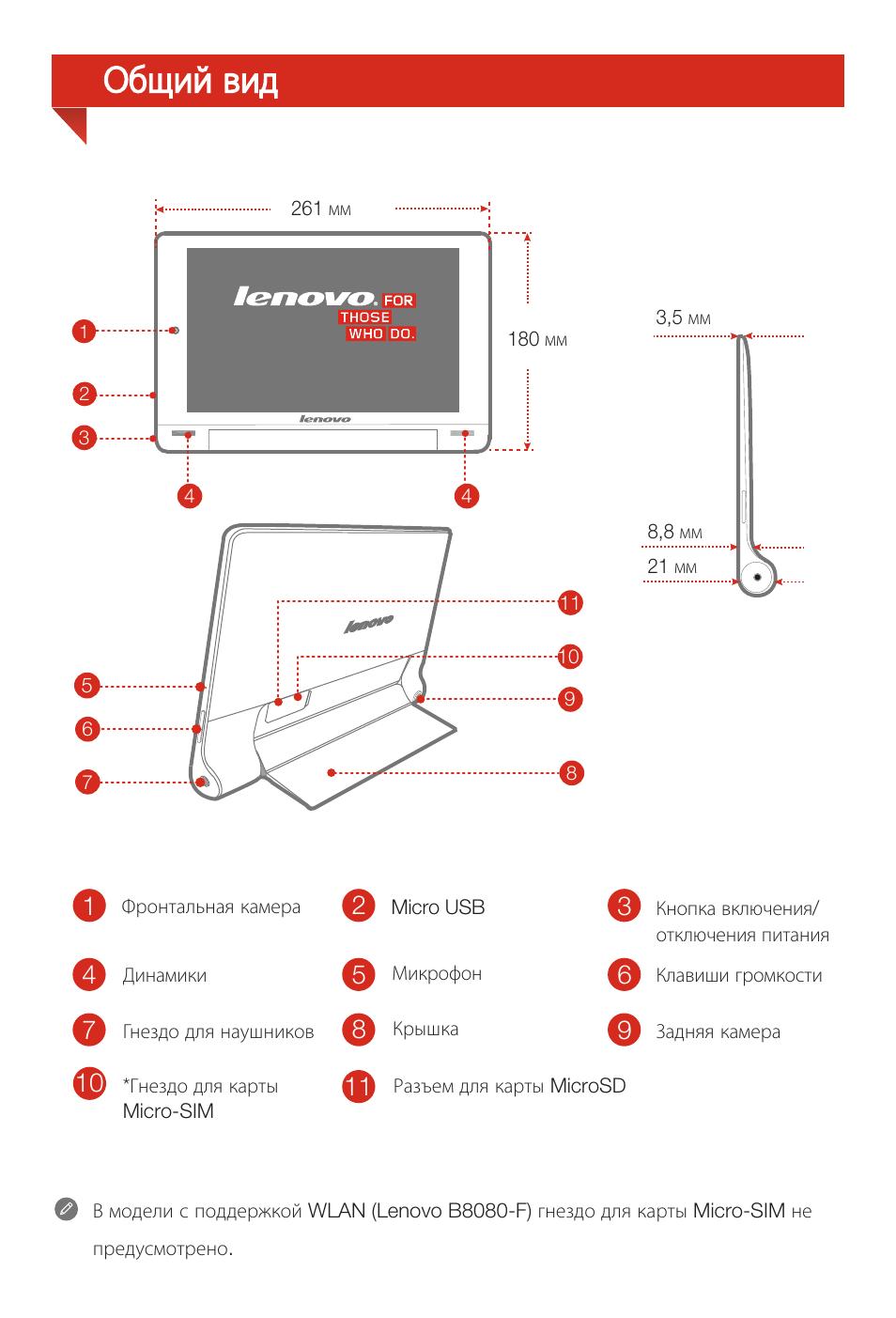 Общий вид Инструкция по эксплуатации Lenovo Yoga Tablet 10 HD+ B8080 Страница 16 / 36 Оригинал