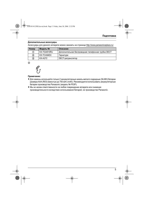 инструкция по эксплуатации panasonic кх tg 8105 ru