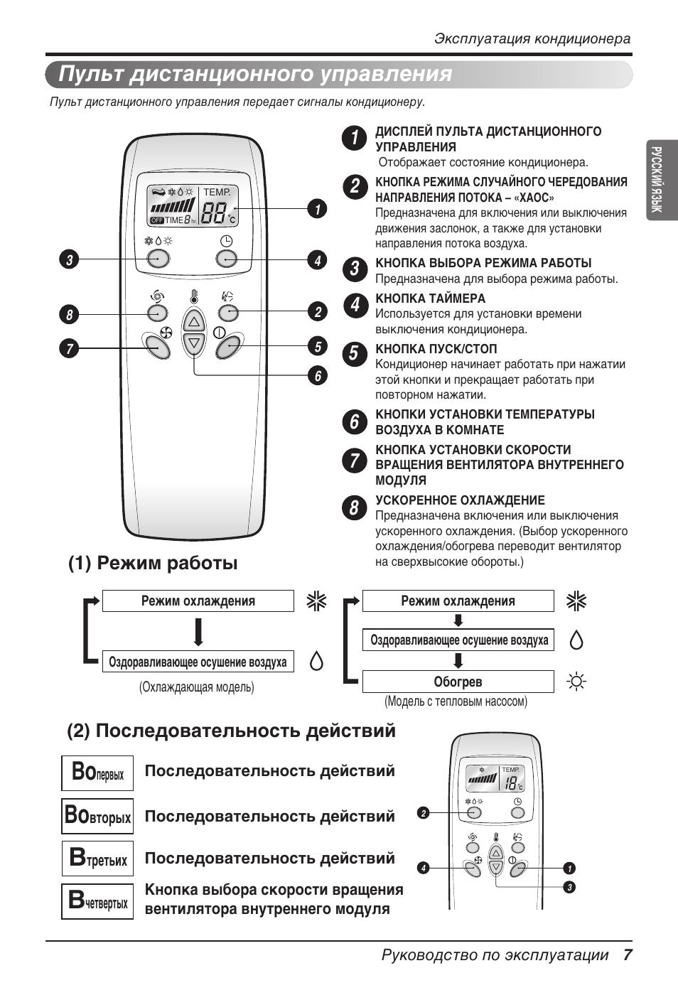 кондиционер lg инструкция к пульту управления s07pk