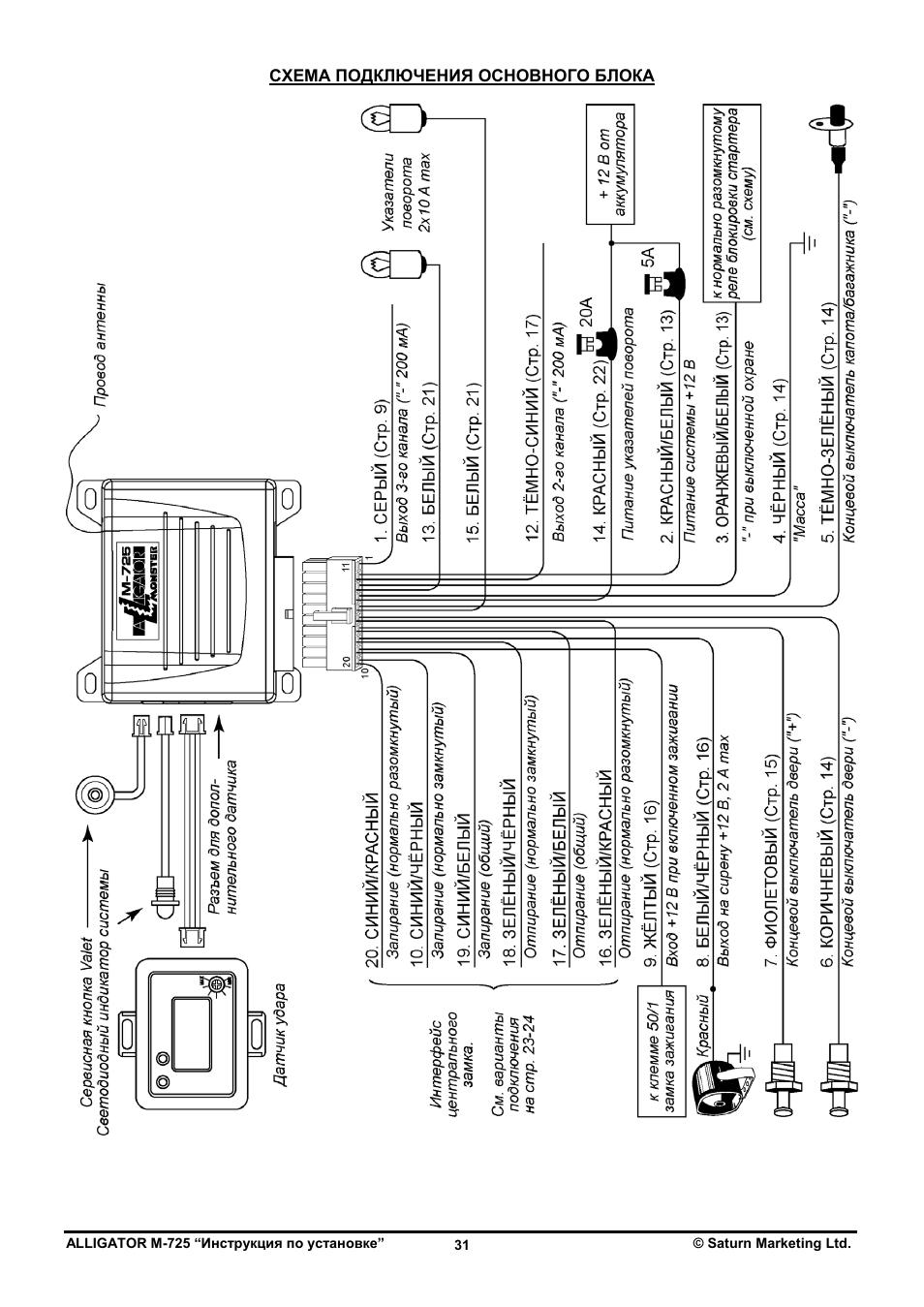 Аллигатор td 215 схема подключения