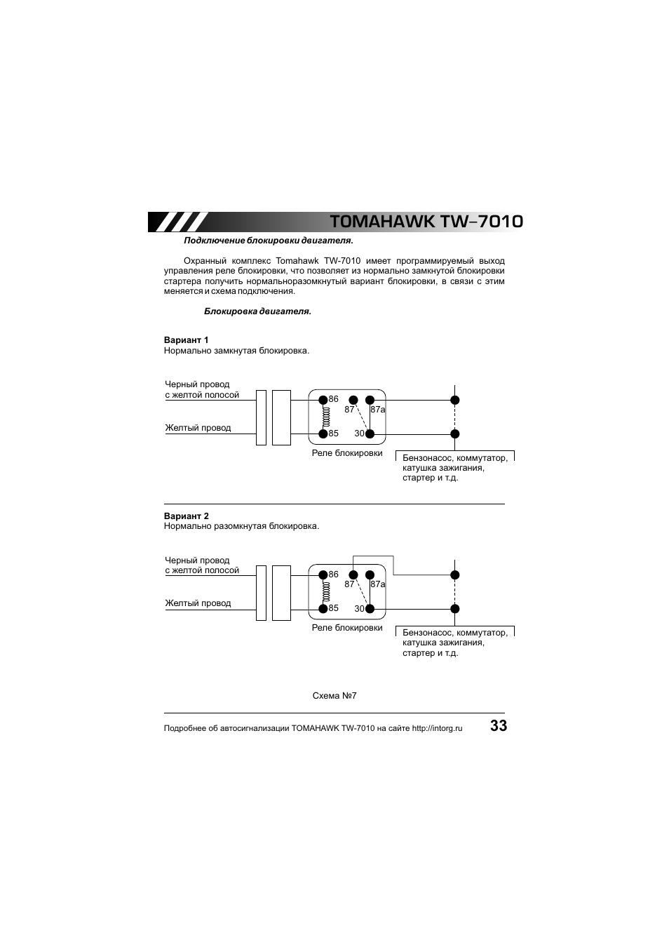 автосигнализация томагавк tw 7000 инструкция по применению
