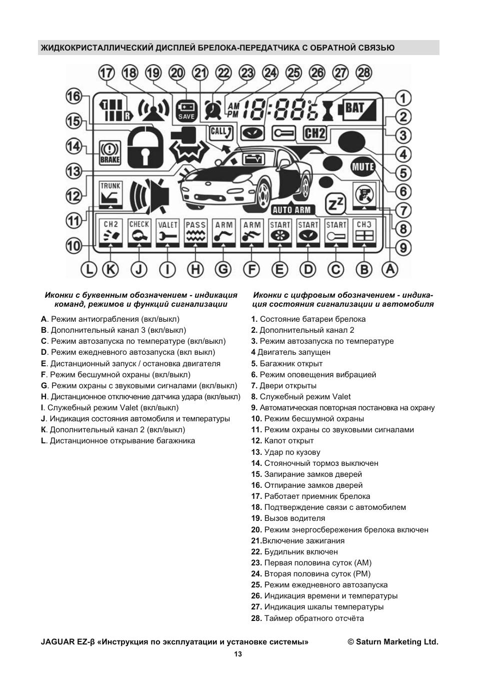 Инструкция к сигнализации jaguar tez b