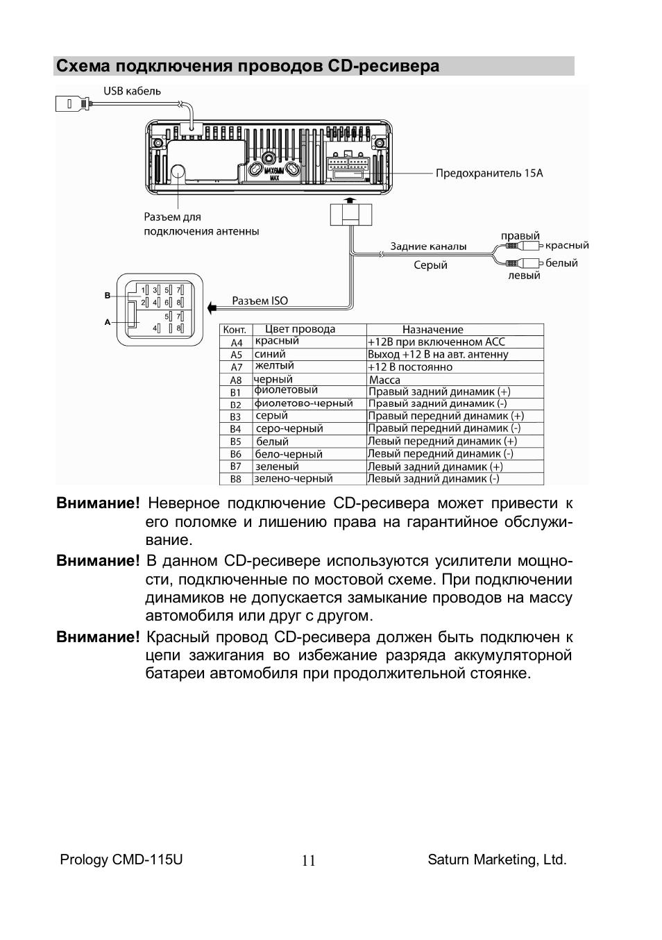 Автомагнитола пролоджи схема подключения 209