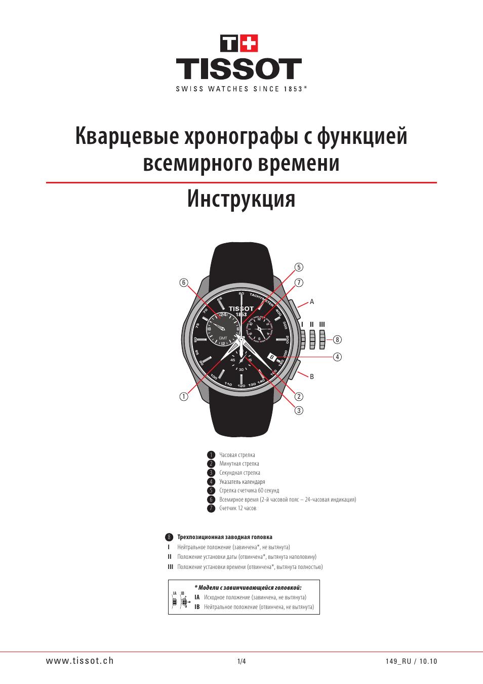 Благодарим вас за приобретение часов швейцарской марки tissot, одной из наиболее известных в мире.
